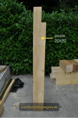 Postes de pérgola, madera abeto, medidas 20x20x300
