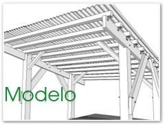 Ilustración de modelo de pergola de madera