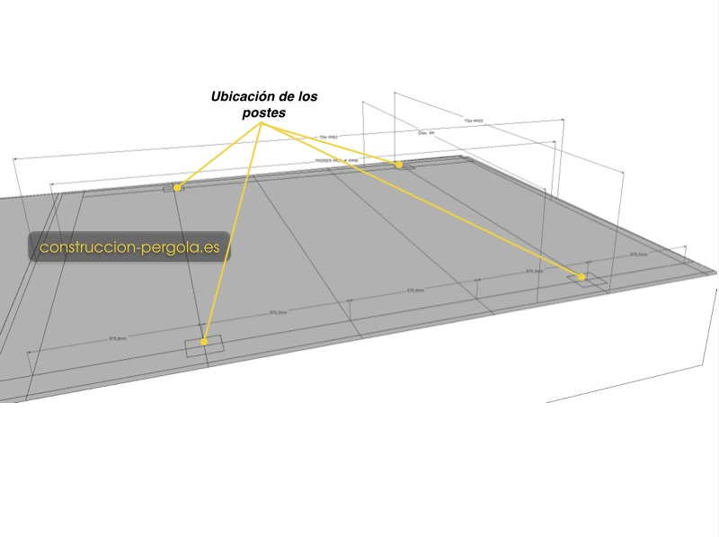 Identificar, con los planos de la pérgola, donde se ubican los postes